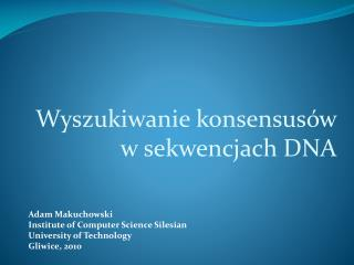 Adam Makuchowski Institute of Computer Science Silesian University of Technology  Gliwice, 2010