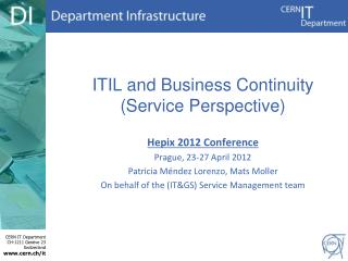 ITIL and  Business  C ontinuity (Service  P erspective )