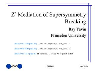 Z' Mediation of Supersymmetry Breaking