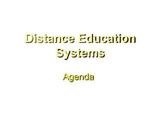 Distance Education Systems
