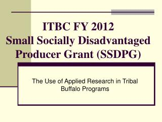ITBC FY 2012 Small Socially Disadvantaged Producer Grant (SSDPG)