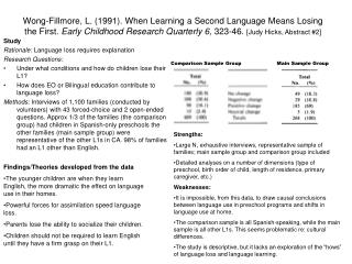 Wong-Fillmore, L. (1991). When Learning a Second Language Means Losing the First.  Early Childhood Research Quarterly 6