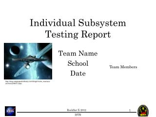 Individual Subsystem Testing Report