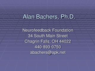 Alan Bachers, Ph.D.