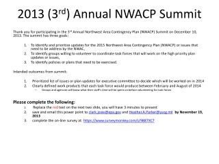 2013 (3 rd ) Annual NWACP Summit