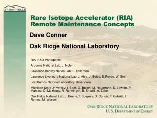 Rare Isotope Accelerator (RIA) Remote Maintenance Concepts