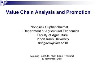Value Chain Analysis and Promotion