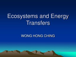 Ecosystems and Energy Transfers