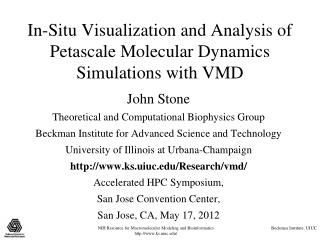 In-Situ Visualization and Analysis of Petascale Molecular Dynamics Simulations with VMD