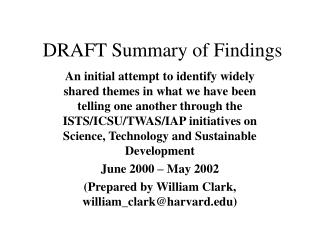 DRAFT Summary of Findings