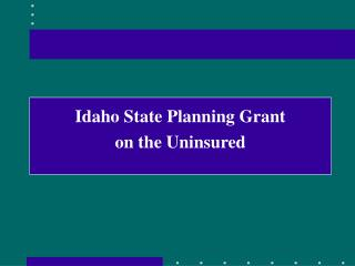 Idaho State Planning Grant on the Uninsured