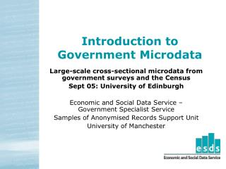 Introduction to  Government Microdata