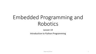 Embedded Programming and Robotics