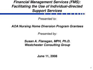 Financial Management Services (FMS): Facilitating the Use of Individual-directed Support Services