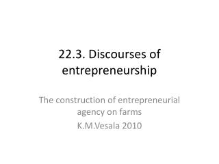 22.3. Discourses of entrepreneurship