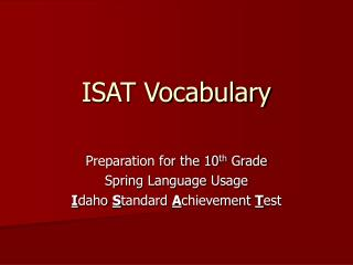 ISAT Vocabulary