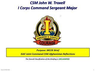 CSM John W. Troxell I Corps Command Sergeant Major