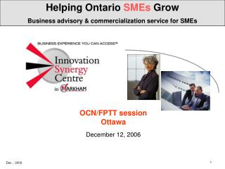 Helping Ontario  SMEs  Grow Business advisory & commercialization service for SMEs