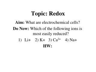 Topic: Redox