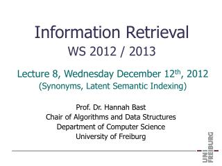 Information Retrieval WS 2012 / 2013