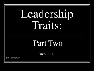 Leadership Traits:  Part Two