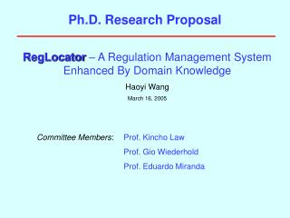 Ph.D. Research Proposal