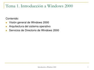 Tema 1. Introducción a Windows 2000