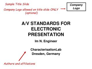 A/V STANDARDS FOR ELECTRONIC PRESENTATION