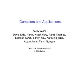 Compilers and Applications