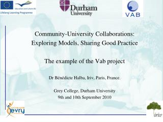 Community-University Collaborations: Exploring Models, Sharing Good Practice