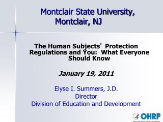 Montclair State University, Montclair, NJ