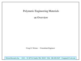 Polymeric Engineering Materials an Overview