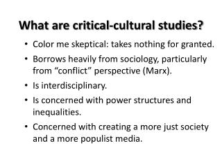 What are critical-cultural studies?