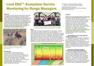 Land EKG TM : Ecosystem Service Monitoring for Range Managers
