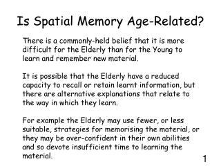 Is Spatial Memory Age-Related?