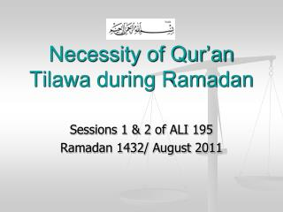 Necessity of Qur'an Tilawa during Ramadan