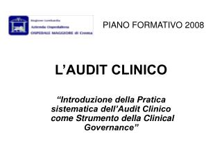 L'AUDIT CLINICO