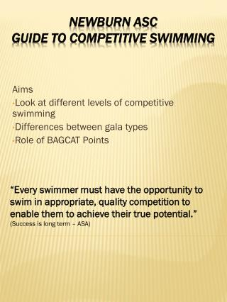 Newburn ASC guide to competitive swimming