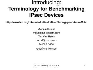 Introducing:  Terminology for Benchmarking IPsec Devices