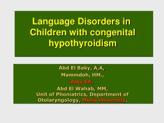 Language Disorders in  Children with congenital hypothyroidism