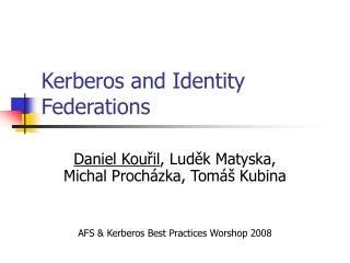 Kerberos and Identity Federations