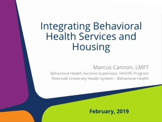 Recovery Community Support Services  for  Integrated Behavioral Healthcare System