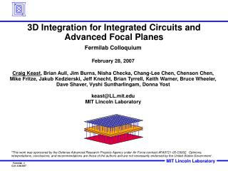 3D Integration for Integrated Circuits and Advanced Focal Planes