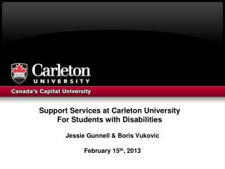 Support Services at Carleton University  For Students with Disabilities