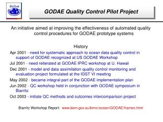 GODAE Quality Control Pilot Project