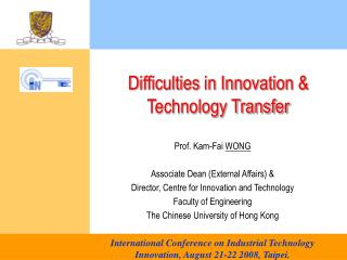 Difficulties in Innovation & Technology Transfer