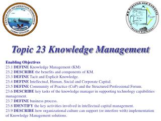 Topic 23 Knowledge Management Enabling Objectives 23.1  DEFINE  Knowledge Management (KM)