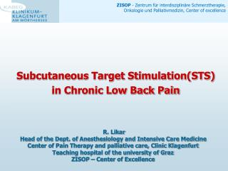 Subcutaneous Target Stimulation(STS) in Chronic Low Back Pain