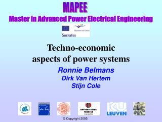 Techno-economic  aspects of power systems
