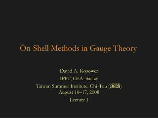 On-Shell Methods in Gauge Theory